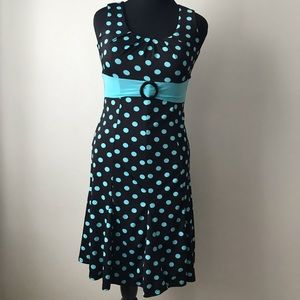 Black & Turquoise Polka Dot Fit And Flare